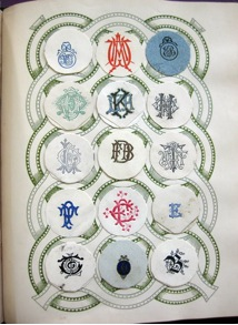 Above page of engraved ciphers and monograms from 'Lincoln Crest & Monogram Album', from my archive.